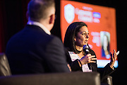 Katy Motiey of Extreme Networks talks with Silicon Valley Business Journal's Josh Moss during the Bay Area Corporate Counsel Awards at The Westin San Francisco Airport in Millbrae, California, on March 18, 2019. (Stan Olszewski for Silicon Valley Business Journal)