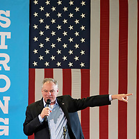 Democratic vice presidential candidate, Sen. Tim Kaine, D-Va. speaks at the Jack Amyette Recreation Center during a campaign rally in Jacksonville, N.C., Monday, Oct. 31, 2016. (AP Photo/Mike Spencer)