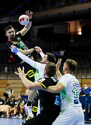during handball match between National Teams of Germany and Slovenia at Day 2 of IHF Men's Tokyo Olympic  Qualification tournament, on March 13, 2021 in Max-Schmeling-Halle, Berlin, Germany. Photo by Vid Ponikvar / Sportida