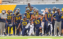 Oct 3, 2020; Morgantown, West Virginia, USA; West Virginia Mountaineers players cheer from the sidelines during the fourth quarter against the Baylor Bears at Mountaineer Field at Milan Puskar Stadium. Mandatory Credit: Ben Queen-USA TODAY Sports