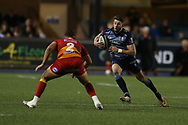 Alex Cuthbert of Cardiff Blues (r).Guinness Pro14 rugby match, Cardiff Blues v Dragons at the Cardiff Arms Park in Cardiff, South Wales on Friday 6th October 2017.<br /> pic by Andrew Orchard, Andrew Orchard sports photography.