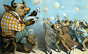 Wall Street bubbles; - Always the same'. J. Pierpont Morgan (1837-1913) American financier as a bull blowing bubbles  of 'inflated values', for which a group of people are eagerly reach. From 'Puck', New York 1901. Telegraph Ticker-tape