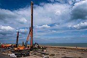 Ground works using pile driving equipment has begun on Folkestone seafront development on the 4th of June 2020, Folkestone, United Kingdom. The development consisting of 84 homes is right on the beachfront towards the western end of the beach close to the Lower Leas coastal path and Leas lift.