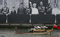 © Licensed to London News Pictures. 03/06/2012. London, Britain.The Spirit of Chartwell royal barge bearing Queen Elizabeth II during the Thames Diamond Jubilee Pageant. Great Britain is celebrating the 60th anniversary of the countries Monarch HRH Queen Elizabeth II accession to the throne Photo credit : Thomas Campean/LNP
