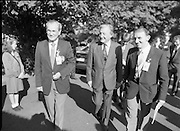 Charles Haughey Visits The Community Games. (T5)..1989..03.10.1989..10.03.1989..3rd September 1989..An Taoiseach, Charles Haughey TD,accompanied by Mr Frank Fahey, TD, Minister of State with responsibility for Youth and Sport attended the Twentieth National Finals of the Community Games at Mosney,  Co.Meath yesterday...Picture shows An Taoiseach, Charles Haughey TD, with Community Games officials  on his arrival at Mosney.