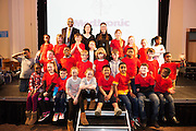 Pupils and teachers from Raheen National School with MC Paul Sneem at the Galway Education centre's Junior First Lego League at the Radisson Blu hotel. Photo:Andrew Downes, xposure.