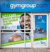 The Gym Group advertising poster, Cardinal Park, Ipswich, Suffolk, England, UK