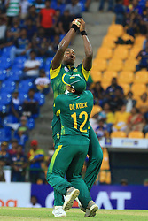 August 5, 2018 - Kandy, Sri Lanka - South African cricketers Lungi Ngidi and Quinton de Kock collide as during the 3rd One Day International cricket match between Sri Lanka and South Africa at Pallekele International Cricket Stadium, Pallekele, Kandy , Sri Lanka on Sunday 5 th August 2018completes a catch  (Credit Image: © Tharaka Basnayaka/NurPhoto via ZUMA Press)