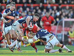 Bristol Rugby number 8, Mitch Eadie is challenged by Yorkshire Carnegie's tighthead prop James Tideswell (left) - Photo mandatory by-line: Dougie Allward/JMP - Mobile: 07966 386802 - 18/01/2015 - SPORT - Rugby - Bristol - Ashton Gate - Bristol Rugby v Yorkshire Carnegie - Green King IPE Championship