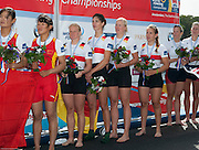 Amsterdam. NETHERLANDS.  GER W4X Gold Medalist: Bow. Annekatrin THIELE, Carina BAER, Julia<br /> LIER and Lisa SCHMIDLA, Gold  Medalist.  Bosbaan Rowing Course. 2014 World Rowing Champions . 14:27:23  Saturday  DATE}  [Mandatory Credit; Peter Spurrier/Intersport-images]