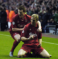 Photo. Jed Wee, Digitalsport<br /> Liverpool v Juventus, UEFA Champions League Quarterfinal First Leg, 05/04/2005.<br /> Liverpool's Sami Hyypia (R) celebrates after his goal with John Arne Riise.