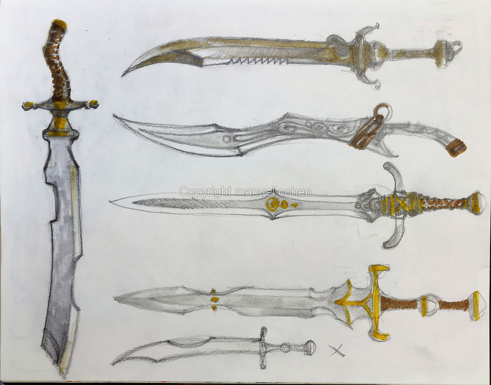 Drawings of various swords and daggers, from a sketchbook used for developing characters, used since 2000, by Grzegorz Rosinski, 1941-, Polish comic book artist. Rosinski was born in Stalowa Wola, Poland, and now lives in Switzerland, and is the author and designer of many Polish comic book series. He created Thorgal with Belgian writer Jean Van Hamme. The series was first published in Tintin in 1977 and has been published by Le Lombard since 1980. The stories cover Norse mythology, Atlantean fantasy, science fiction, horror and adventure genres. Picture by Manuel Cohen / Further clearances requested, please contact us and/or visit www.lelombard.com