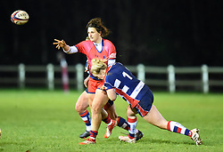 Abbie Parsons of Bristol Ladies wearing the No 1 shirt tackles a Worcester Valkyries opponent - Mandatory by-line: Paul Knight/JMP - 16/12/2017 - RUGBY - Cleve RFC - Bristol, England - Bristol Ladies v Worcester Valkyries - Tyrrells Premier 15s