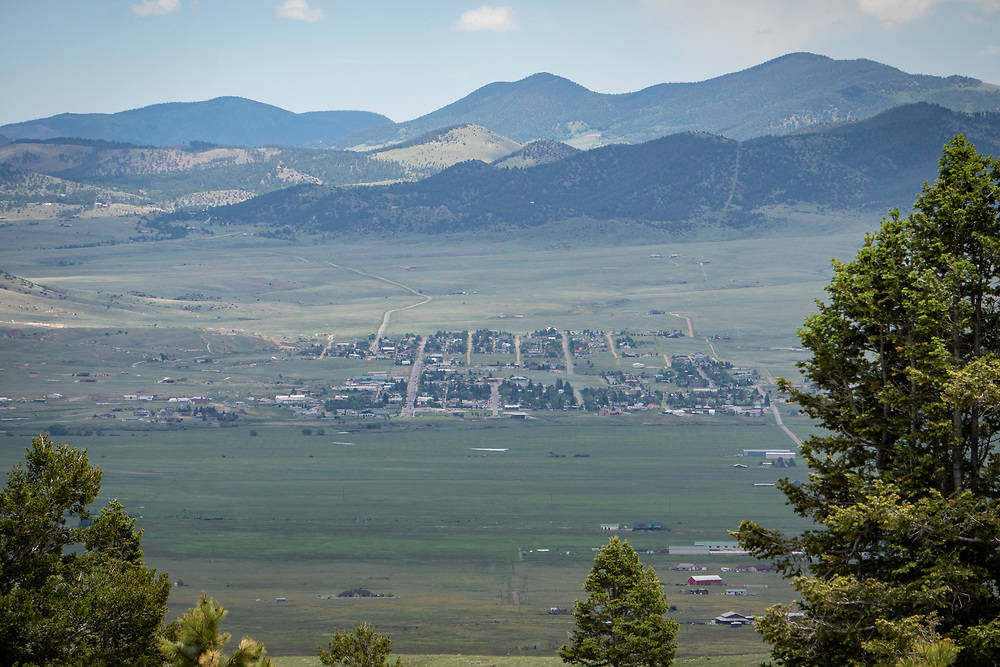 Looking down on Westcliffe and Silver Cliff from high up the hill on CR 172.