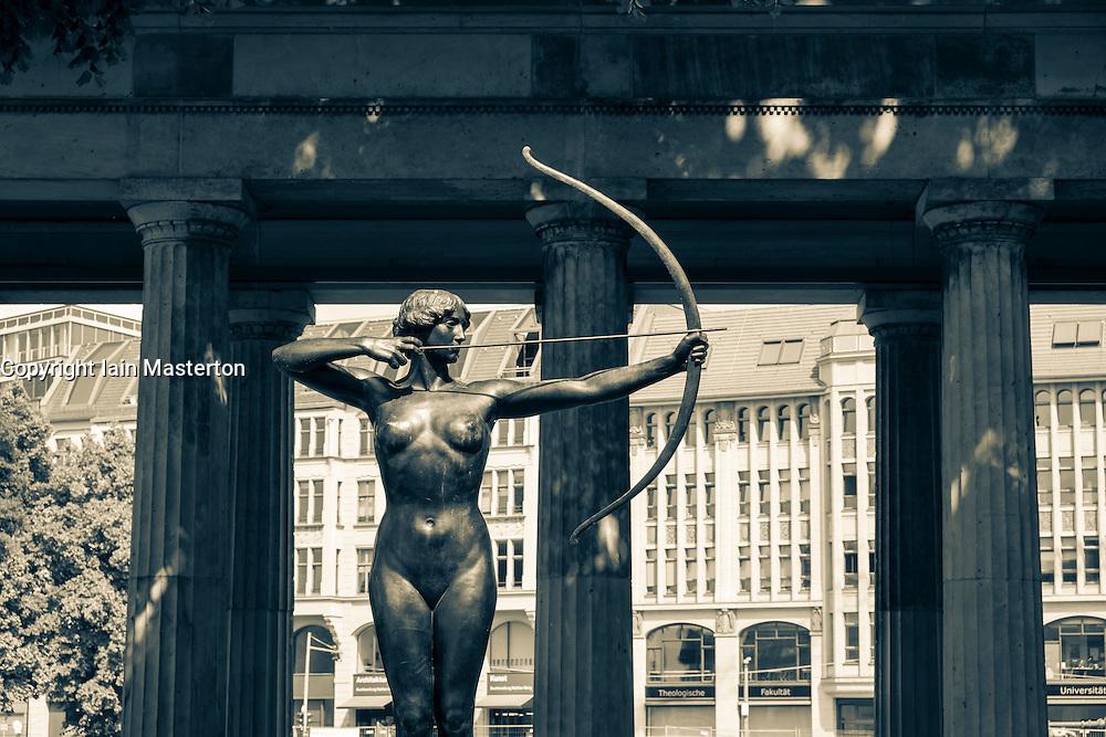Statue in garden beside  Alte Nationalgalerie on Museumsinsel in Berlin Germany