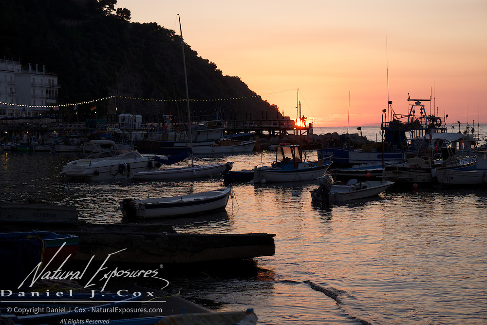 Sunset over the Bay of Naples. Sorrento, Italy