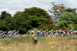 The peloton speed by at Stage 2 of 2019 OVO Women's Tour, a 62.5 km road race starting and finishing in the Kent Cyclopark in Gravesend, United Kingdom on June 11, 2019. Photo by Sean Robinson/velofocus.com