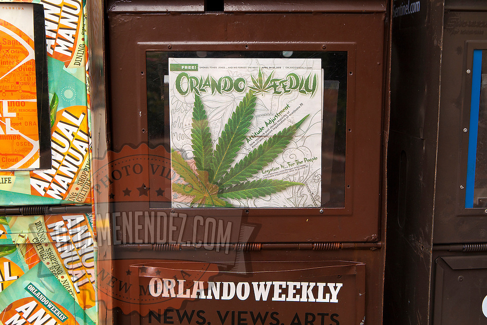 Marijuana is shown on the front page of the Orlando Weekly magazine, with the changed title calling it the Orlando Weedly. State residents, with the help of a group called United for Care, are urging backers to sign petitions to get the legalization of medicinal marijuana on the ballot for the early 2014 Florida legislative session, and both sides of the discussion have been very vocal in its support to either legalize it or to keep it illegal. This image taken in Central Florida on Thursday, April 29, 2013. (Photo/Alex Menendez)