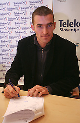 Damjan Zlatnar  when Athletic Federation of Slovenia (AZS) and top Slovenian athletes sign a contract of sponsorship, on February 14, 2008 in M-Hotel, Ljubljana, Slovenia. (Photo by Vid Ponikvar / Sportal Images)