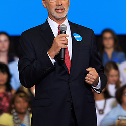 Harrisburg, PA, USA - October 4, 2016: Pennsylvania Governor Democrat Tom Wolf offers remarks at a rally for Presidential candidate Hillary Clinton in Harrisburg.