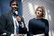 Elmer Moore from Scale Up Milwaukee and Gretchen Jameson from Concordia University at the Wisconsin Entrepreneurship Conference at Venue 42 in Milwaukee, Wisconsin, Tuesday, June 4, 2019.