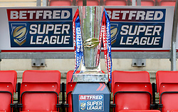The Betfred Super League trophy on display during the 2017 Betfred Super League launch at Leigh Sports Village. PRESS ASSOCIATION Photo. Picture date: Thursday February 2, 2016. See PA story RUGBYL Launch. Photo credit should read: Richard Sellers/PA Wire. RESTRICTIONS: Editorial use only. No commercial use. No false commercial association. No video emulation. No manipulation of images.
