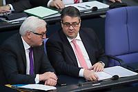 17 FEB 2016, BERLIN/GERMANY:<br /> Frank-Walter Steinmeier (L), SPD, Budnesaussenminister, und Sigmar Gabriel (R), SPD, Bundeswirtschaftsminister, im Gespraech, waerend der Regierunsgerklaerung der Bundeskanzlerin zum Europaeischen Rat, Plenum, Deutscher Bundestag<br /> IMAGE: 20160217-03-014<br /> KEYWORDS: Debatte, Gespräch