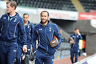 Tottenham player Andros Townsend arrives off the team bus ahead of the game. Barclays premier league match, Swansea city v Tottenham Hotspur  at the Liberty Stadium  in Swansea, South Wales on Sunday 4th October 2015.<br /> pic by  Andrew Orchard, Andrew Orchard sports photography.
