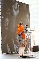 Malala Yousafzai speaks during the Bill and Melinda Gates foundation's Goalkeepers 2017 at Jazz at Lincoln Center in New York.