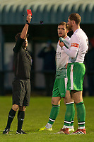 Football - 2020 / 2021 FA Trophy - Round Two - Marine vs Hyde United - Rossett Park<br /> <br /> <br /> Hyde United's Any Hollins is shown a red card by Referee Neil Evans<br /> <br /> <br /> COLORSPORT/TERRY DONNELLY