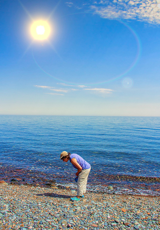 In search for the perfect pebbles along the North Shore beach in Minnesota