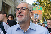 Jeremy Corbyn surrounded by protesters at the Global Climate Strike on 20th September, 2019 in London, United Kingdom. Inspired by teenage climate activist Greta Thurnburg, millions of workers and students around the world are striking  to take part in climate strike protests to demand governments take action.