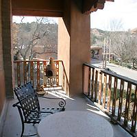 North America, USA, New Mexico, Santa Fe. Bishop's Lodge Balcony