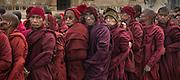 Monks at prayer at the Shwezigon Paya, Bagan, Myanmar