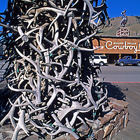 WYOMING. Antler arch and famous Cowboy Bar in Jackson.