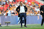 Carlos Carvalhal, the Sheffield Wednesday manager looks on from the touchline. Skybet football league Championship play off final match, Hull city v Sheffield Wednesday at Wembley Stadium in London on Saturday 28th May 2016.<br /> pic by John Patrick Fletcher, Andrew Orchard sports photography.