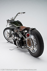 """""""Soils of War"""", a green S&S engine bobber built by Larry Moore of Wichita, KS. Photographed by Michael Lichter during the Easyriders Bike Show in Columbus, OH on February 9, 2017. ©2017 Michael Lichter."""
