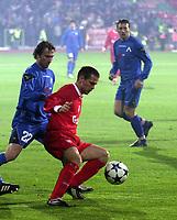 3.03.2004 Sofia, Bulgaria Levski-Liverpool Cup Uefa<br /> Michael Owen(R)  from Liverpool and Ilian Stoyanov(L)  from Levski<br /> Photo:Aleksandar Djorovic/ DIGITALSPORT