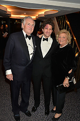 Left to right, LORD HINDLIP, LOUIS FRANK and DAME VIVIEN DUFFIELD at the Gift of Life Gala Ball celebrating the Russian Old new Year's Eve in aid of the Gift of Life foundation held at The Savoy, London on 13th January 2015.