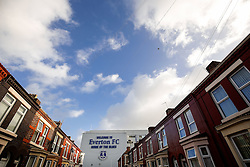 General View af an Everton FC sign outside Goodison Park before the match - Photo mandatory by-line: Rogan Thomson/JMP - 07966 386802 - 10/01/2015 - SPORT - FOOTBALL - Liverpool, England - Goodison Park - Everton v Manchester City - Barclays Premier League.