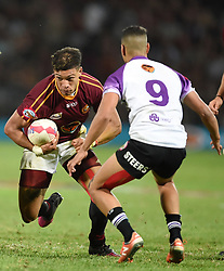 Cape Town-180416  University of Stellenbosch player Edwil van der Merwe  tackled by Chriswill September of UNW in a Varsity Cup final played at Dani Craven stadium in Sellenbosch .photographer:Phando Jikelo/African News Agency/ANA