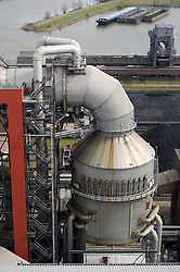 Ariel view of a scrubber unit, which helps clean the exhaust vapours before they are released into the air, at the Essent Energie power station, in Geertruidenberg, Netherlands, on Monday March 22, 2010. Essent Energie is owned by RWE AG. (Photo © Jock Fistick)