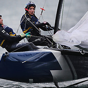 NEWPORT, RHODE ISLAND- OCTOBER 22:  The Swedish team of Celina Burlin and Oscar Madeyski Bengtson in action during the Red Bull Foiling Generation World Final 2016 on October 22, 2016 in Narragansett Bay, Newport, Rhode Island. (Photo by Tim Clayton/Corbis via Getty Images)