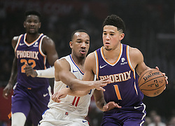 November 28, 2018 - Los Angeles, California, U.S - Devin Booker #1 of the Phoenix Suns drives against Avery Bradley #11 of the Los   Angeles Clippers during their NBA game on Wednesday November 28, 2018 at the   Staples Center in Los Angeles, California. Clippers defeat Suns, 115-99. JAVIER  ROJAS/PI (Credit Image: © Prensa Internacional via ZUMA Wire)