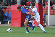 Mohammad Gadir of Israel (6) and Samuele Ricci of Italy (7) battle for the ball during the UEFA European Under 17 Championship 2018 match between Israel and Italy at St George's Park National Football Centre, Burton-Upon-Trent, United Kingdom on 10 May 2018. Picture by Mick Haynes.
