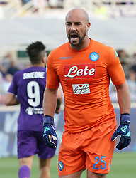 April 29, 2018 - Florence, Florence, Italy - 29th April 2018, Stadio Artemio Franchi, Florence, Italy; Serie A Football, Fiorentina versus Napoli; goalkeeper Pepe Reina of Napoli reacts after Giovanni Pablo Simeone of Fiorentina scored a goal in the 34th minute  Credit: Giampiero Sposito/Pacific Press (Credit Image: © Giampiero Sposito/Pacific Press via ZUMA Wire)