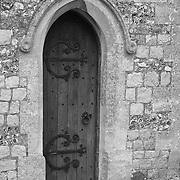 Iron Hinged Wooden Door - Avebury, UK - Black & White