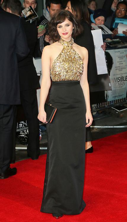 © London News Pictures. Felicity Jones, The Invisible Woman - UK film premiere, Odeon Kensington High Street, London UK, 27 January 2014. Photo credit: Richard Goldschmidt/LNP