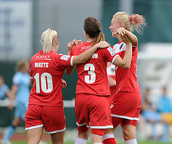 Bristol Academy Womens' Corinne Yorston celebrates with her team mates after scoring. - Photo mandatory by-line: Dougie Allward/JMP - Mobile: 07966 386802 - 28/09/2014 - SPORT - Women's Football - Bristol - SGS Wise Campus - Bristol Academy Women's v Manchester City Women's - Women's Super League