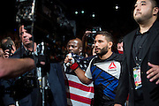 Chad Mendes prepares to enter the Octagon against Conor McGregor during UFC 189 at the MGM Grand Garden Arena in Las Vegas, Nevada on July 11, 2015. (Cooper Neill)